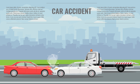 Car crash or accident concept illustration. Vector illustration for infographic template.