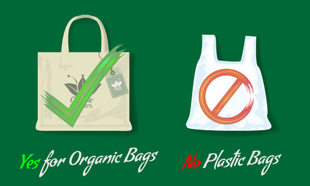 Say no to plastic bags and yes for organic bags. Flat and solild color style Vector illustration with acrylic yes or no signs. Ilustração