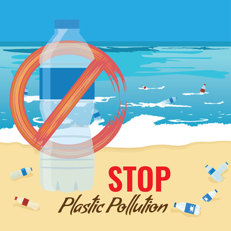 Plastic bottle mockup with no sign. Pollution of ocean, sea or beach concept. Bottles and debris on the seabed and seashore. Vector Illustration.