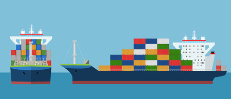 Cargo Container ship with front and side view. Freight Transportation concept. High detailed vector illustration.