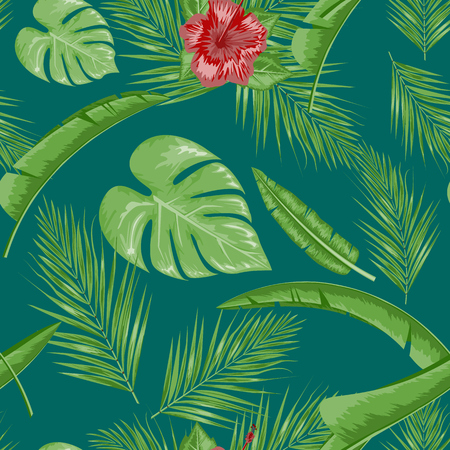 Exotic abstract vector jungle or tropical leaf and flower seamless pattern. Water color style vector illustration. Green leaf and green background.