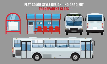 City Bus and Bus stop, side front and back view. Solid and Flat color style high detailed vector illustration. Stock Illustratie