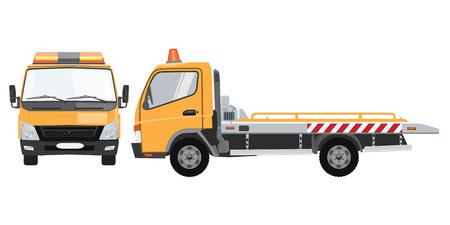 Camión de remolque vacío amarillo con vista frontal y lateral. Vector plano con diseño de color sólido.