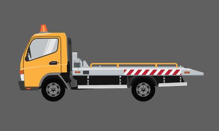 Camión de remolque vacío amarillo. Vector plano con diseño de color sólido.