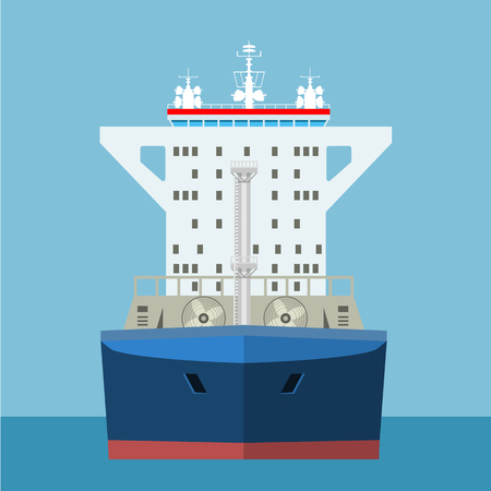 Empty Cargo Container ship with front view. Freight Transportation concept. High detailed vector illustration.