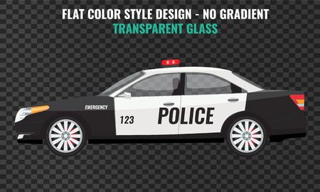 Police car side view. High detailed Flat and solid color vector illustration. Vektorgrafik