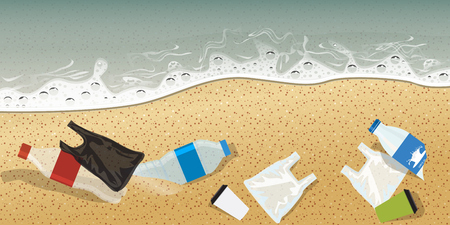 Plastic bottle and other plastics on seashore pollution concept advertisement template composition. High detailed Vector Illustration.
