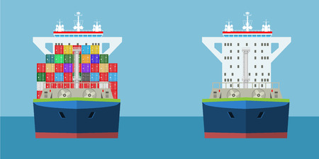 Empty and full Cargo Container ship with front view and loaded containers on it. Freight Transportation infographic concept. Detailed vector illustration.