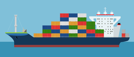 Cargo Container ship side view and loaded containers on it. Freight Transportation concept. High detailed vector illustration.