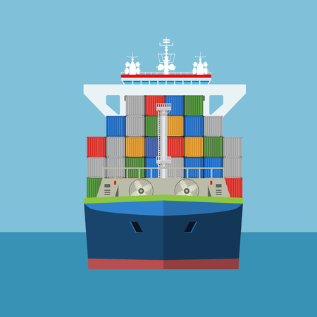 Cargo Container ship with front view and loaded containers on it. Freight Transportation concept. High detailed vector illustration. Ilustração