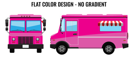 Pink Food Truck Hi-detailed with solid and flat color design template for Mock Up Brand Identity. Front and side view Illustrated vector
