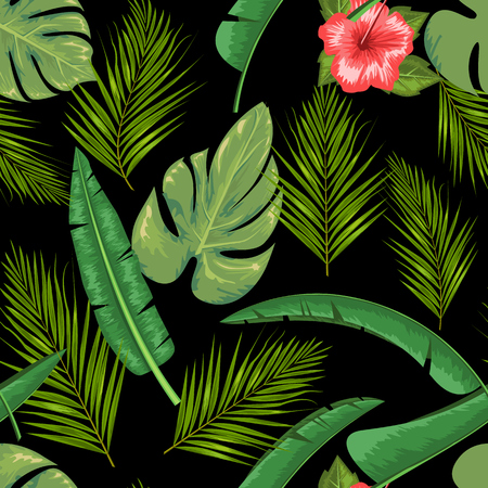 Exotic abstract vector jungle or tropical leaf and flower seamless pattern. Water color style vector illustration. Green leaf and black background.