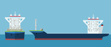 Empty Cargo Container ship with front and side view. Freight Transportation concept. High detailed vector illustration.
