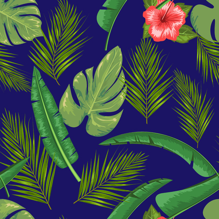 Exotic abstract vector jungle or tropical leaf and flower seamless pattern. Water color style vector illustration. Green leaf and blue background.