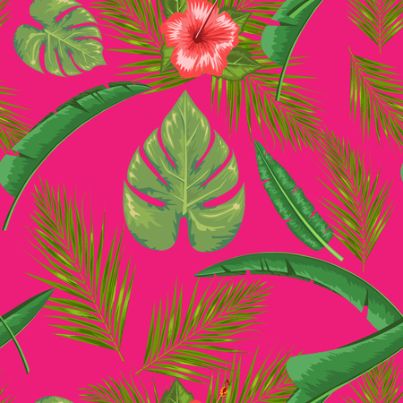 Exotic abstract vector jungle or tropical leaf and flower seamless pattern. Water color style vector illustration. Green leaf and pink background. 일러스트