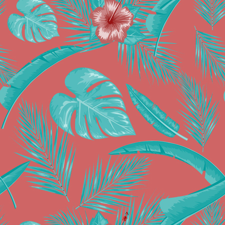 Exotic abstract vector jungle or tropical leaf and flower seamless pattern. Water color style vector illustration. Blue leaf and red background.