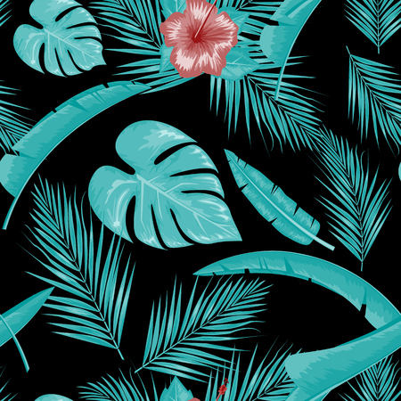 Exotic abstract vector jungle or tropical leaf and flower seamless pattern. Water color style vector illustration. Blue leaf and black background. 일러스트