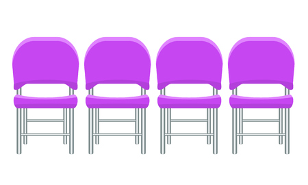 Group of purple plastic chairs with flat and solid color design.