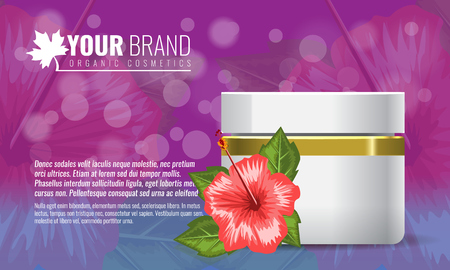 Beautiful hydrating facial cream with tropic flower and leaf mock up. Cosmetic advertisement template. High detailed vector illustration.