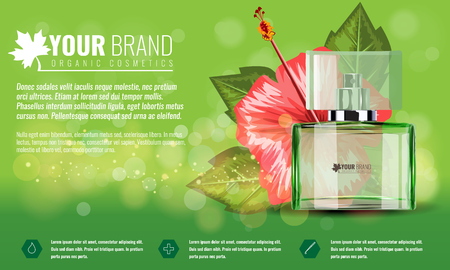 Realistic style perfume glass bottle mock up with tropic flower and leaf. Realistic vector illustration.