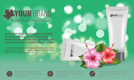 Beautiful hydrating facial cream cosmetic ads template with tropical flower and leaf. Bokeh effect vector illustration.