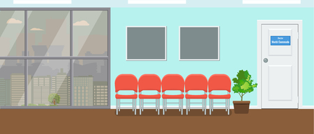 Waiting room for patients at dental office. Large window and cityscape view. Vector illustration.