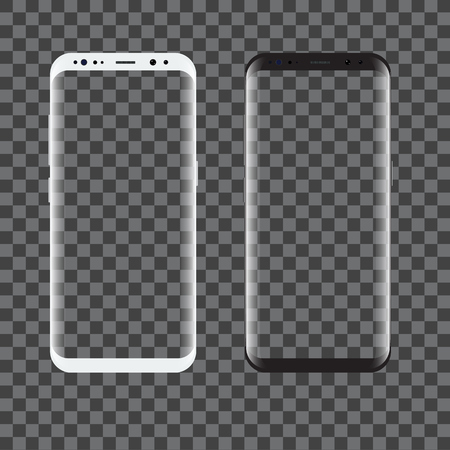 New black and white Smartphone model isolated with blank screen. High detailed Vector illustration.