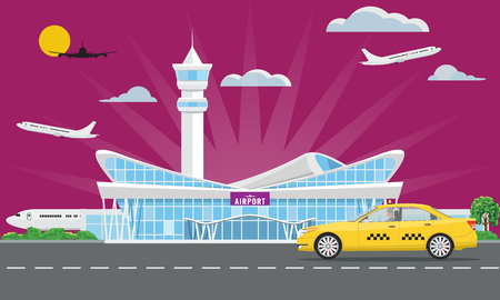 Solid Modern Airport terminal building and yellow taxi. Flat and solid color design. Vector illustration.