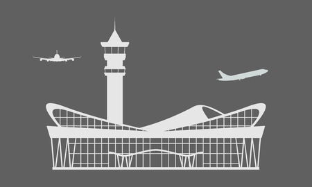 Solid Modern Airport terminal building icon. Isolated Flat and solid white color design symbol for ticket design. Vector illustration.