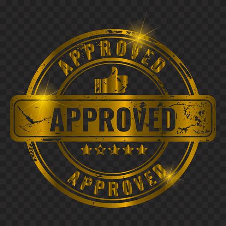 Stamp - approved. Golden Old vintage grunge effect and like symbol. Gold color Isolated. Vector illustration.