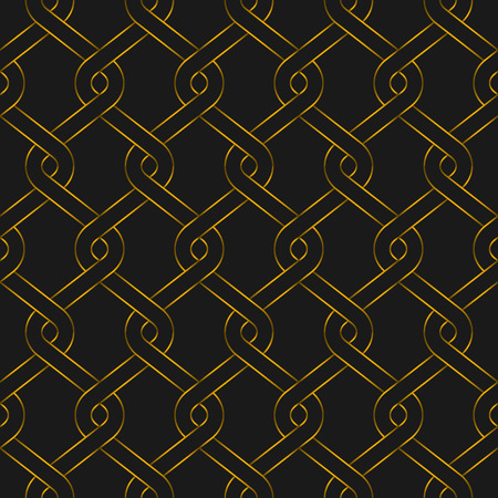 Golden woven fence seamless pattern. Gold color vector illustration. 向量圖像