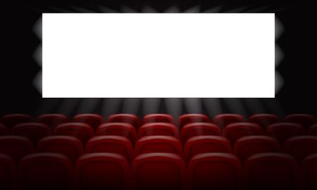Cinema con schermo bianco vuoto per la progettazione di poster. illustrazione vettoriale 3D.