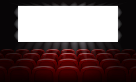 Movie cinema with empty white screen for poster design. 3d Vector illustration.