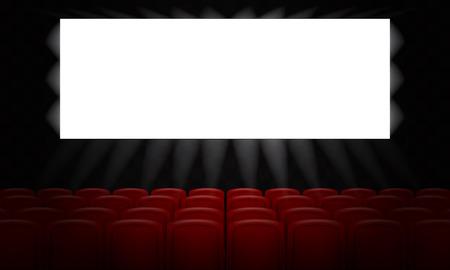 Filmkino mit leerem weißen Bildschirm für Plakatgestaltung. 3D-Vektor-Illustration.