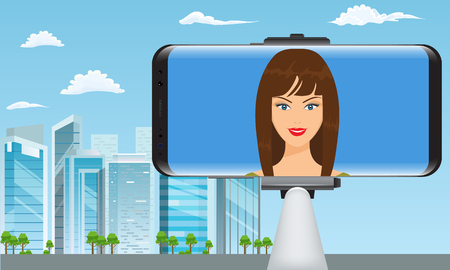 Monopod Selfie stick with girl face making travel video blogger. City view on background. Flat and detailed vector illustration. Ilustrace