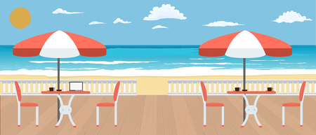 Large Cafe on the terrace near the seashore. Summer, Restaurant and travel concept banner. Flat and solid color vector illustration.