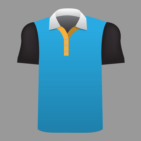 Realistic Men t-shirt mock up with front view. High detailed 3d vector illustration. Blue and black color.