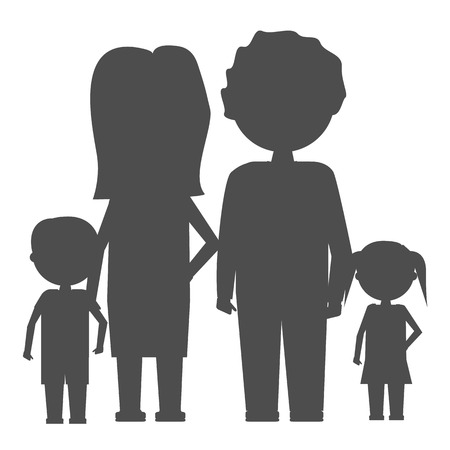 Family Icon in flat and solid color style isolated. Parents and children symbol Vector illustration. Illustration