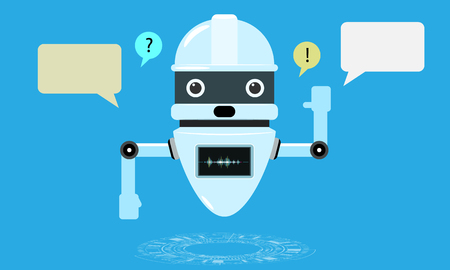 Smart chatbot assistant conversation, online customer support robot. Flat and solid color style Vector illustration. Illustration