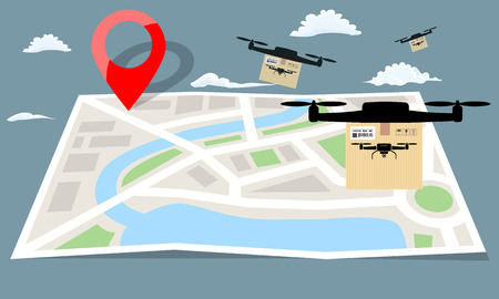 Drone delivery with the package box flying over folding map paper. Flat and solid color vector illustration.