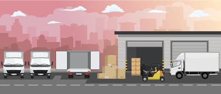 Fachada del edificio de almacén, camión y carretilla elevadora en el fondo del paisaje urbano. Ilustración de vector de estilo plano.