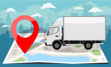 Camion blanc sur carte plate pliée et épingle rouge. Fond de paysage urbain. Illustration vectorielle de style plat couleur.