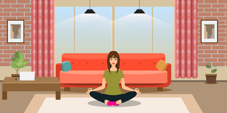Young woman is doing yoga exercises in modern trendy design room interior. Flat and solid color style vector illustration.