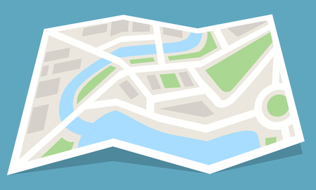 Folded map paper icon. Flat and solid color style vector illustration.