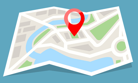 Folded map paper with red pin icon. Flat and solid color style vector illustration. Vecteurs