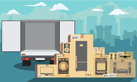 Delivery service. Delivery truck over cityscape with stack of carton boxes. Flat and solid color style, vector illustration.