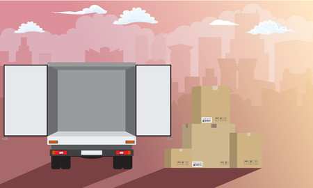 Delivery service. Delivery truck over cityscape with stack of carton boxes rear view. Flat and solid color style, vector illustration. Çizim