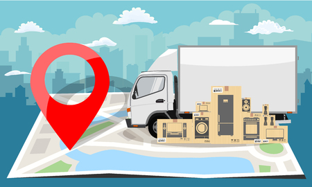 White truck over folded flat map and red pin. Cityscape background. Flat color style vector illustration. Çizim
