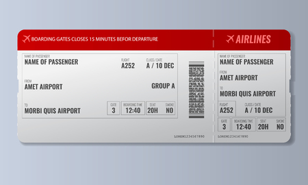 Airline boarding pass or air ticket design template. Realistic Vector illustration. Иллюстрация