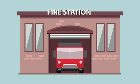 Fire station building exterior with fire truck in it. Flat and solid vector illustration.